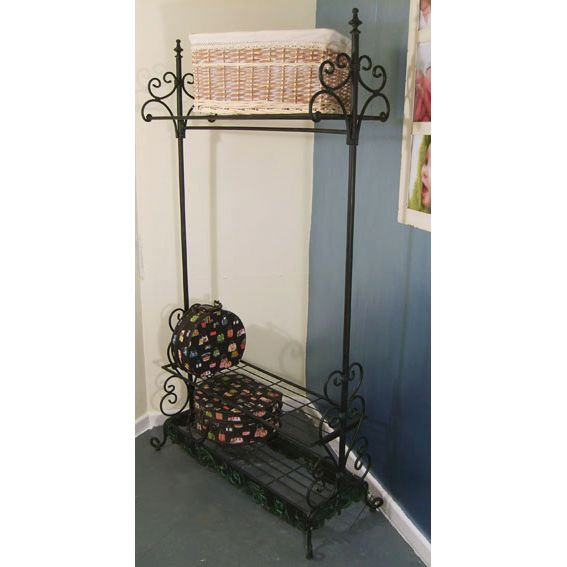 Black Ornate Metal Coat Rail Amp Boot Rack